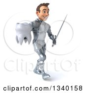 Clipart Of A 3d Caucasian Male Armored Knight Holding A Tooth And Sword Walking To The Right Royalty Free Illustration