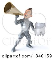 Clipart Of A 3d Caucasian Male Armored Knight Holding A Tooth And Announcing With A Megaphone Royalty Free Illustration