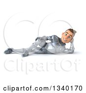 Clipart Of A 3d Caucasian Male Armored Knight Resting On His Side Royalty Free Illustration