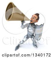 Clipart Of A 3d Caucasian Male Armored Knight Holding A Shield And Announcing To The Left With A Megaphone Royalty Free Illustration