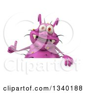 Clipart Of A 3d Purple Germ Virus Giving A Thumb Up Over A Sign Royalty Free Illustration by Julos