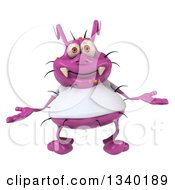 Clipart Of A 3d Purple Germ Virus Wearing A White T Shirt And Shrugging Royalty Free Illustration by Julos