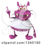 Clipart Of A 3d Purple Germ Virus Wearing A White T Shirt And Holding Up A Finger Royalty Free Illustration by Julos