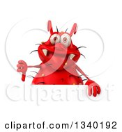 Clipart Of A 3d Red Germ Virus Giving A Thumb Down Over A Sign Royalty Free Illustration by Julos