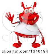 Clipart Of A 3d Red Germ Virus Wearing A White T Shirt Waving Royalty Free Illustration by Julos