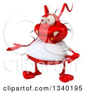 Clipart Of A 3d Red Germ Virus Wearing A White T Shirt Presenting Royalty Free Illustration by Julos