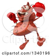 Clipart Of A 3d Red Germ Virus Wearing Boxing Gloves Facing Left And Jumping Royalty Free Illustration by Julos