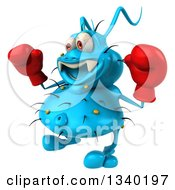 Clipart Of A 3d Blue Germ Virus Facing Slightly Left Wearing Boxing Gloves Royalty Free Illustration