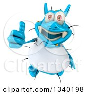 Clipart Of A 3d Blue Germ Virus Wearing A White T Shirt Holding Up A Thumb Royalty Free Illustration by Julos