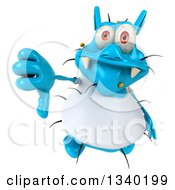 Clipart Of A 3d Blue Germ Virus Wearing A White T Shirt Holding Up A Thumb Down Royalty Free Illustration