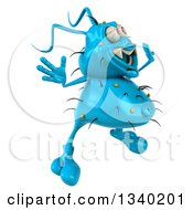 Clipart Of A 3d Blue Germ Virus Facing Right And Jumping Royalty Free Illustration