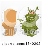 Clipart Of A Cartoon Green Germ Virus Pointing To A Toilet Royalty Free Illustration