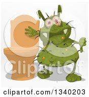 Clipart Of A Cartoon Green Germ Virus Giving A Thumb Down By A Toilet Royalty Free Illustration