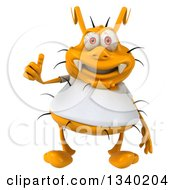 Clipart Of A 3d Yellow Germ Wearing A White Tee Shirt Giving A Thumb Up Royalty Free Illustration