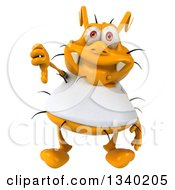 Clipart Of A 3d Yellow Germ Wearing A White Tee Shirt Giving A Thumb Down Royalty Free Illustration by Julos
