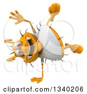 Clipart Of A 3d Yellow Germ Wearing A White Tee Shirt And Cartwheeling Royalty Free Illustration