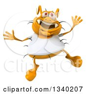 Clipart Of A 3d Yellow Germ Wearing A White Tee Shirt And Jumping Royalty Free Illustration