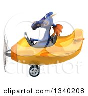 Clipart Of A 3d Purple Dragon Aviator Pilot Flying A Yellow Airplane Royalty Free Illustration