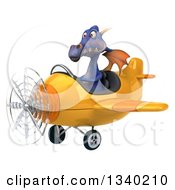 Clipart Of A 3d Purple Dragon Aviator Pilot Flying A Yellow Airplane 2 Royalty Free Illustration