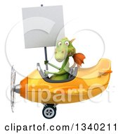 Clipart Of A 3d Green Dragon Aviator Pilot Holding A Blank Sign And Flying A Yellow Airplane Royalty Free Illustration