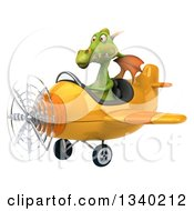 Clipart Of A 3d Green Dragon Aviator Pilot Flying A Yellow Airplane 2 Royalty Free Illustration