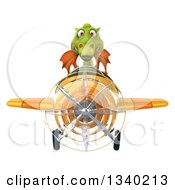 Clipart Of A 3d Green Dragon Aviator Pilot Flying A Yellow Airplane Royalty Free Illustration