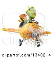 Clipart Of A 3d Green Dragon Aviator Pilot Giving A Thumb Up And Flying A Yellow Airplane Royalty Free Illustration