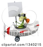 Clipart Of A 3d Green Dragon Aviator Pilot Wearing Sunglasses Holding A Blank Sign And Flying A White And Red Airplane Royalty Free Illustration