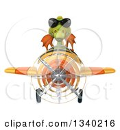 Clipart Of A 3d Green Dragon Aviator Pilot Wearing Sunglasses And Flying A Yellow Airplane Royalty Free Illustration
