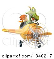 Clipart Of A 3d Green Dragon Aviator Pilot Flying A Yellow Airplane 3 Royalty Free Illustration