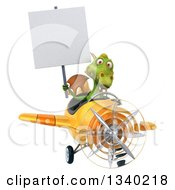 Clipart Of A 3d Green Dragon Aviator Pilot Holding A Blank Sign And Flying A Yellow Airplane 2 Royalty Free Illustration