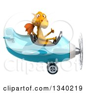 Clipart Of A 3d Yellow Dragon Aviator Pilot Giving A Thumb Up And Flying A Blue Airplane Royalty Free Illustration