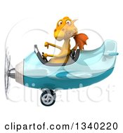 Clipart Of A 3d Yellow Dragon Aviator Pilot Giving A Thumb Down And Flying A Blue Airplane Royalty Free Illustration