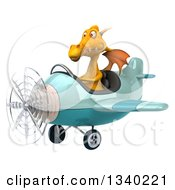 Clipart Of A 3d Yellow Dragon Aviator Pilot Flying A Blue Airplane Royalty Free Illustration