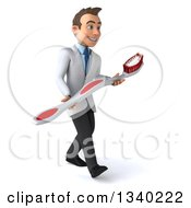 Clipart Of A 3d Happy Young Brunette White Male Dentist Carrying A Giant Toothbrush Walking To The Right Royalty Free Illustration by Julos