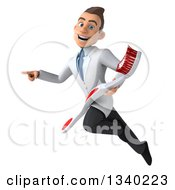 Clipart Of A 3d Happy Young Brunette White Male Dentist Holding A Giant Toothbrush Flying And Pointing To The Left Royalty Free Illustration by Julos