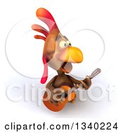 Clipart Of A 3d Brown Chicken Playing A Guitar And Singing Royalty Free Illustration
