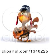 Clipart Of A 3d Brown Police Chicken Playing A Guitar Royalty Free Illustration