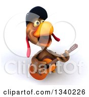 Clipart Of A 3d Brown Police Chicken Singing Upwards And Playing A Guitar Royalty Free Illustration