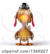 Clipart Of A 3d Brown Chicken Pilot Wearing A Helmet Royalty Free Illustration by Julos