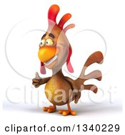 Clipart Of A 3d Brown Chicken Giving A Thumb Up Facing Left Royalty Free Illustration