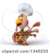 Clipart Of A 3d Chef Chicken Playing A Guitar Facing Slightly Left And Singing Royalty Free Illustration