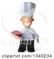 Clipart Of A 3d Short White Male Chef Holding A Beef Steak Royalty Free Illustration by Julos
