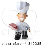 Clipart Of A 3d Short White Male Chef Holding A Beef Steak And Walking Royalty Free Illustration by Julos