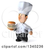 Clipart Of A 3d Short White Male Chef Pouting And Walking Slightly To The Left With A Double Cheeseburger Royalty Free Illustration by Julos