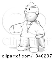 Clipart Of A Cartoon Sketched Short Super Hero Man Presenting Royalty Free Illustration