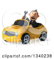 Clipart Of A 3d Short Caucasian Businessman Holding A Wrench And Driving A Yellow Convertible Car 2 Royalty Free Illustration