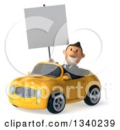 Clipart Of A 3d Short Caucasian Businessman Holding A Blank Sign And Driving A Yellow Convertible Car 3 Royalty Free Illustration