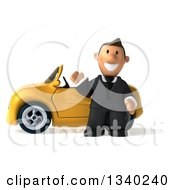 Clipart Of A 3d Short Caucasian Businessman Waving By A Yellow Convertible Car Royalty Free Illustration