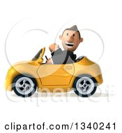 Clipart Of A 3d Short Caucasian Businessman Waving And Driving A Yellow Convertible Car Royalty Free Illustration